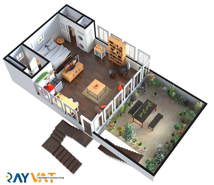 HOUSE_04-1-600 3D Floor Plan